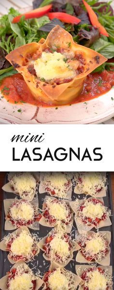 Mini Lasagnas Recipe | Treat your guests to these tasty petite lasagnas. Use all the traditional ingredients like Italian sausage, onions, mushrooms, tomato sauce, ricotta cheese and mozzarella, but swap wonton wrappers for lasagna noodles and bake in muffin tins for an easy-to-make bite-sized app. #crowdpleasers #easyapps #muffintinrecipes