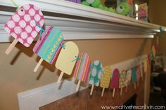 Popsicle theme birthday party. Popsicle banner/garland. www.nativetexanlivin.com