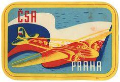 Czechoslovak Airlines (ČSA), Prague luggage label (1950)    Year: c. 1950s (?)