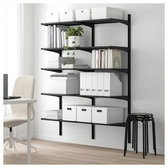 ALGOT 2 section shelving unit, black. A versatile system for the pantry, laundry room or wherever it's needed. Just click the brackets onto the wall uprights to add a shelf or accessory – it's easy to add or remove parts as your needs change. Open Clothes Storage, Garage Storage Shelves, Garage Storage Solutions, Ikea Storage, Wall Shelves, Storage Ideas, Ikea Algot, Shelves Under Stairs, Console