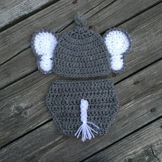 Baby Elephant Outfit Hat Diaper Cover Crochet Newborn Elephant