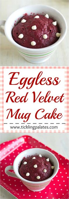 Eggless Red Velvet Microwave Mug Cake for a quick Valentine's Day treat. Eggless Red Velvet Microwave Mug Cake for a quick Valentine's Day treat. Mug Cake Receta, Mug Cake Eggless, Cake Recipes Eggless, Eggless Desserts, Eggless Baking, Red Velvet Mug Cake Recipe, Lemond Curd, Powdered Food Coloring, Bolo Red Velvet