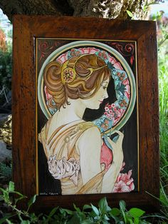 Hand made ceramic tile reproduction liberty style (Mucha). Wood frame old style.