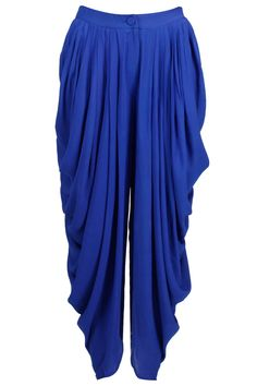 Cobalt dhoti pants available only at Pernia's Pop-Up Shop. Salwar Kameez, Salwar Pants, Patiala, Pakistani Dresses, Indian Dresses, Indian Outfits, Salwar Designs, Blouse Designs, Ethnic Fashion