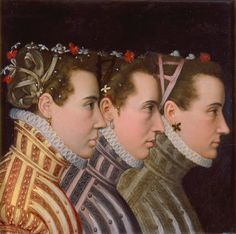 (men) Att. to Lucas de Heere (ca. 1534-84): 'Triple Profile Portrait', ca. 1570. This stunning and unusual portrait is not as it appears. The figures outfitted in fashionable costume are men. Adding to the intrigue, scholars have only recently attributed the work to Lucas de Heere, a Netherlandish painter who worked in Paris between 1559 and 1561, and in London after 1567. Research suggests that the sitters may, in fact, be the minions - or boyfriends - of French King Henry III (1551-1589).
