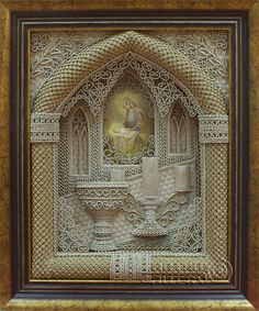 Vladimir Denshchikov is a Ukrainian artist who creates incredibly detailed religious icons using a technique called macrame. He makes millions of linen knots by hand. Macrame Art, Micro Macrame, Religious Icons, Religious Art, Create Icon, Faith Crafts, Art Moderne, Orthodox Icons, Embroidery Stitches