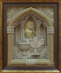 Unique orthodox icons of macrame.. Vladimir Denshchikov is the author of this masterpiece.