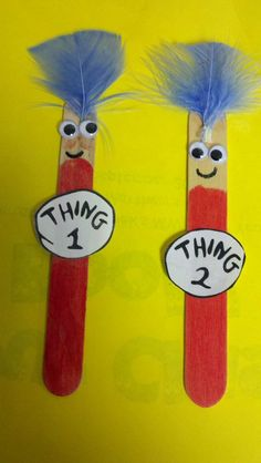 March/Dr Seuss: Thing 1 and Thing 2 popsicle stick craft.