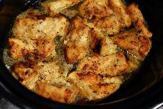Crock Pot Lemon Chicken: Put a cube of butter in bottom of crock pot. Lay chicken in pot. Sprinkle Italian dressing packet over chicken, drizzle w/ lemon juice.