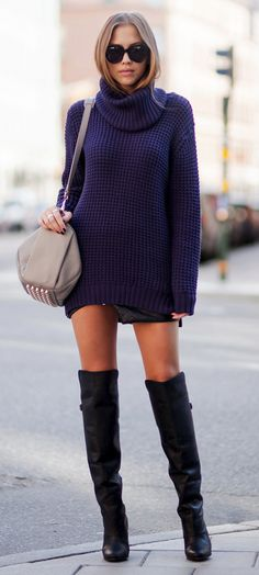 chunky blue sweater + black knee high boots