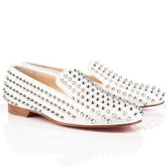 6484463bf7bd Christian Louboutin Rollerboy Spikes Loafers White - Cheap Christian  Louboutin Outlet