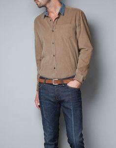 CONTRASTING NEEDLECORD SHIRT - Shirts - Man - ZARA Ireland