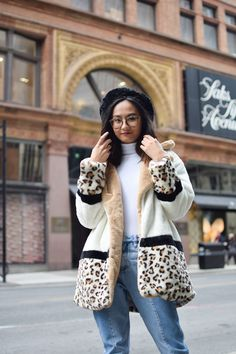 cdeb2a7191 US $35.0 40% OFF|SHEIN Multicolor Highstreet Cut and Sew Leopard Panel Faux  Fur Teddy Coat Weekend Casual Elegant Women Coats Outerwear-in Wool &  Blends ...