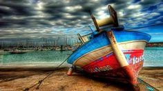 barco em HDR doca seca