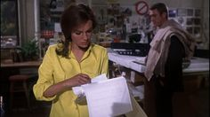 Bullitt (1968) scene where we first see Steve McQueen and Jacqueline Bisset, his girlfriend, at her office.