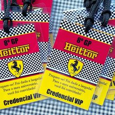 Convite credencial Ferrari para o Heittor. Ferrari Cake, Ferrari Party, 3rd Birthday Parties, Birthday Party Decorations, Party Kit, Party Ideas, F1 Racing, Bar Mitzvah, Lucca