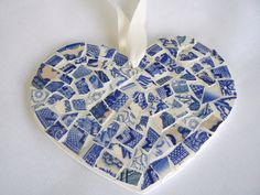 I can do this!  Blue and White Toile China Mosaic Heart  Pique Assiette Ornament. $25.00, via Etsy.