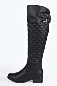 Jade Quilted Knee Riding Boots at boohoo.com