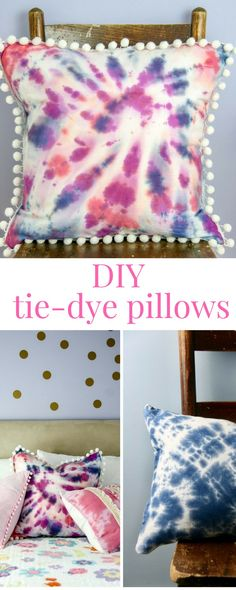 Let's make some tie-dye pillows!  This DIY project will show you how to make a few different tie-dye patterns - like the spiral! Can you believe this pillow used to be a tea towel?  We added pom poms and fringe too.  Pin this or click through!  #diy #sewing #pillows #tiedye