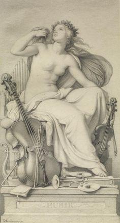 Eduard Julius Friedrich Bendemann (German, 1811-1889), Allegorical Figure of Music (19th c)