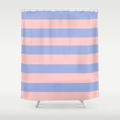 light pink and blue striped shower curtain can be used for a window curtain which is great for a room for boy and girl twins.