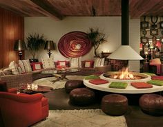 Interior design in Palm Springs, California, 1970s.