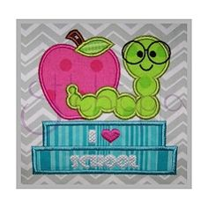 Bookworm with Apple Applique - 6 Sizes! | What's New | Machine Embroidery Designs | SWAKembroidery.com Stitchtopia