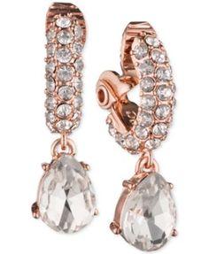 Anne Klein Rose Gold-Tone Crystal Drop Clip-On Earrings