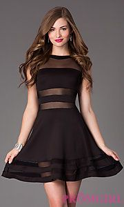 In Stock Buy Short Sleeveless Illusion Cut Out Dress at PromGirl. Black