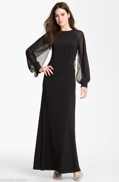 Eliza J Chiffon Sleeve Jersey Gown Dress Black Size 12