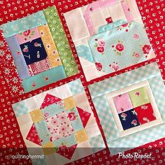 """Love your blocks @quiltinghermit  By @quiltinghermit """"Being new to Instagram last year, I got pretty overwhelmed trying to sew too many things.  This year I'm determined to finish my Farm Girl Vintage quilt.  Here are four more blocks!  Ps.  I want that Pam Kitty teapot in real life!  @pamkittymorning @beelori1  #farmgirlvintage"""" via @PhotoRepost_app"""