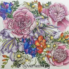 My fourth page from Floribunda, by Leila Duly. Happy weekend to everybody! Coloured with Polychromos, Prismacolor and Luminance #floribunda #floribundacoloringbook #floribundacolouringbook #leiladuly #prismacolor #prismacolorpencil #prismacolorpremier #polychromos #fabercastellpolychromos #luminance #carandacheluminance #adultcoloringbook #coloringbook #colouringbook #adultcolouring #adultcolouringbook #adultcolouring