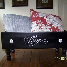 Upcycled Dresser Drawer I LOVE this idea !!I need to make 2... one for pillows and one for blankets :)