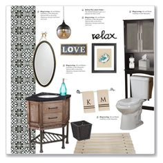 """""""Half Bathroom Decor"""" by kellylynne68 ❤ liked on Polyvore featuring interior, interiors, interior design, home, home decor, interior decorating, Merola, Kate Spade, Parlane and Danya B"""