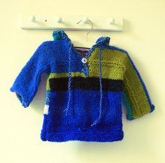 Hand knit hoodie baby boy / girl. via Etsy.