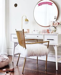 like the idea of a desk that could also be a vanity; don't like the mirror and wouldn't pick a white desk ...