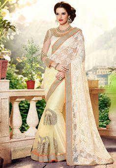 Off White Net Saree with Blouse: SGA5184