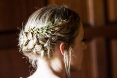 Gorgeous bride Vicky wears our Arielle Chignon Wrap Comb in a stunning braided chignon.