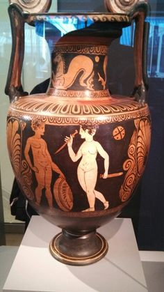 Etruscan. (The notes say the woman is handing the warrior his sword for battle. .. I can think of 2 other notions in the artist's imagination .. )
