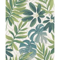 Nocturnum White Leaf Wallpaper Brewster Wallcoverings Blues Grays Greens Botanical Wallpaper Tropical Wallpaper, Non Woven, Easy to clean , Easy to wash, Easy to strip Tropical Wallpaper, Botanical Wallpaper, Wallpaper Decor, White Wallpaper, Wallpaper Samples, Print Wallpaper, Geometric Wallpaper, Wallpaper Roll, Summer Wallpaper