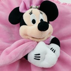 Disney Store Minnie Mouse Lovey Security Blanket Baby Infant Rattle Pink