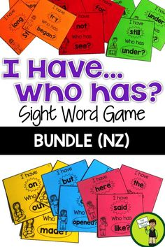 This pack includes six I have Who has Sight Word Games based on the Magenta, Red, Yellow, Blue, Green and Orange Level high frequency words (New Zealand).  Sight word recognition improves reading fluency, allowing the student to focus their efforts on the more mentally demanding task of reading comprehension.