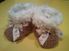 Crocheted Baby Boots with the Fur Collection. $12.00, via Etsy.