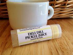 Deli Dill Pickle Juice Lip Balm, dill pickle lip butter, unusual lip balm, unusual lip butter