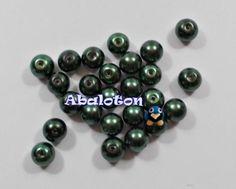 perlas cristal lacado verde oscuro 8mm y 6mm