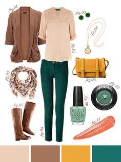 fall fashion: blush, taupe, mustard, and teal