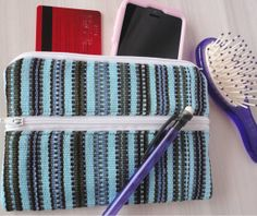 Coin Purse 3 Zipper Pockets Handwoven on  Backstrap by TheFairLine, $11.00