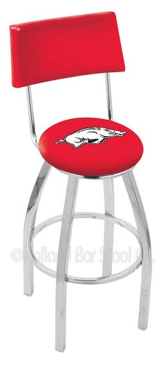 the 25 or 30 university of arkansas razorbacks counter stool with swivel features a chrome ring footrest and a 155 x 15 back rest