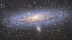 The Great Galaxy of Andromeda. million light years away, it is the nearest spiral galaxy to us and is at least twice the size of the Milky Way. and the Milky Way are destined to collide in about billion years. Cosmos, Sistema Solar, All Nature, Science Nature, Galaxy Pictures, Spiral Galaxy, Star System, Space Photos, Dark Matter