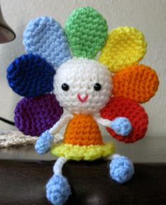 PATTERN Rainbow Flower Doll Amigurumi por CrochetCuteDolls See other ideas and pictures from the category menu…. Crochet Flower Patterns, Crochet Doll Pattern, Crochet Patterns Amigurumi, Crochet Dolls, Crochet Flowers, Crochet Sunflower, Crochet Amigurumi, Rainbow Flowers, Crochet Gifts